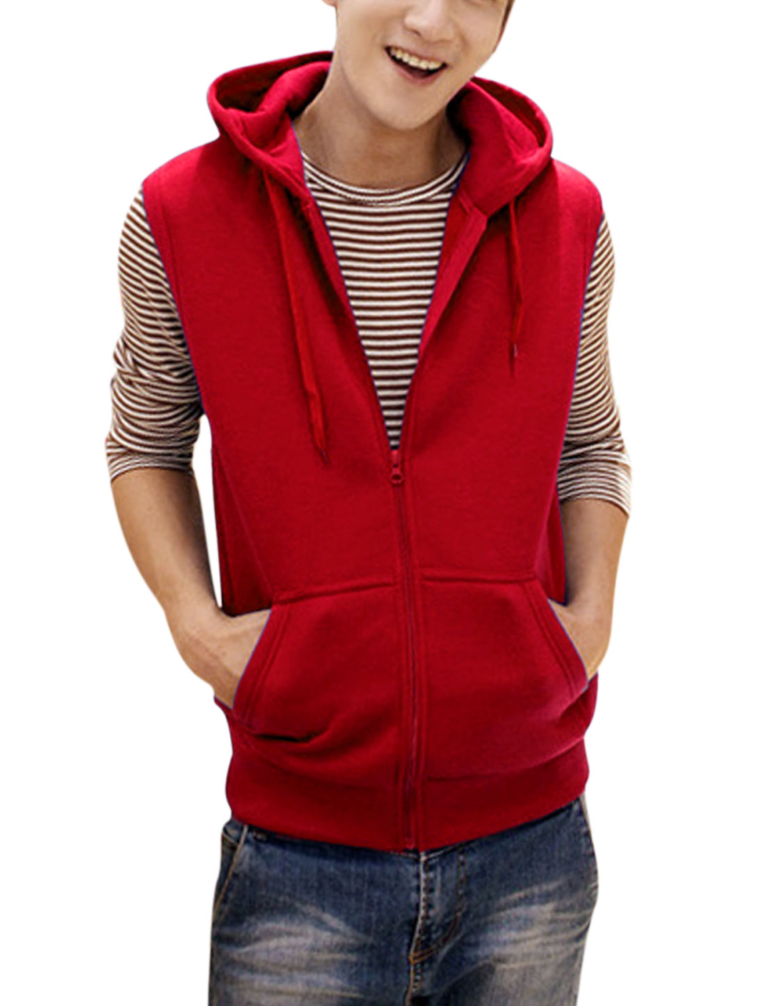 Men Simple Style Zip Up Double Slant Pockets Leisure Gilet Red M