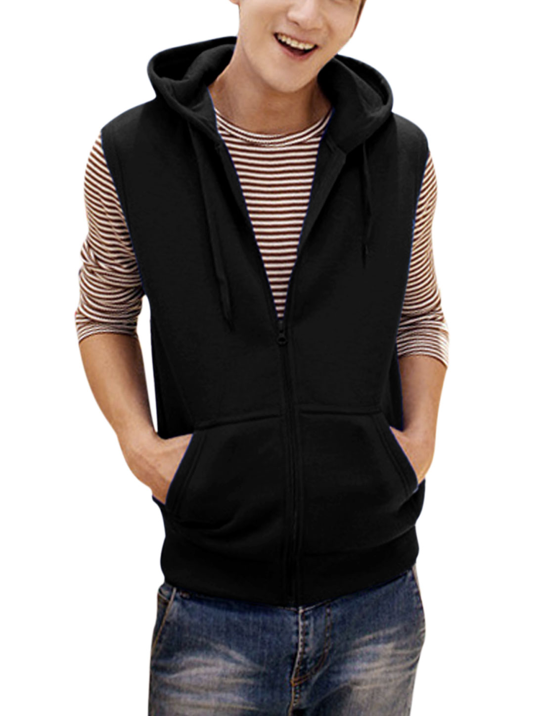 Men Zipper Closure Slant Pockets Casual Gilet Black M