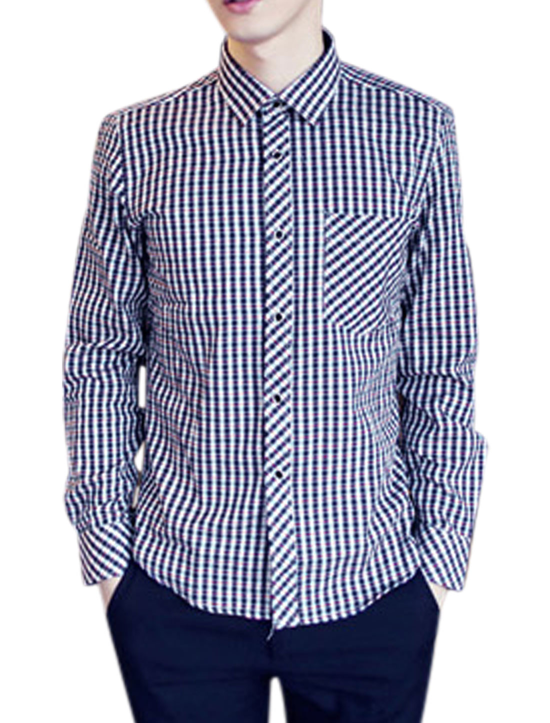 All Over Plaids Print Chest Patch Pocket Casual Shirt for Men Red Navy Blue M