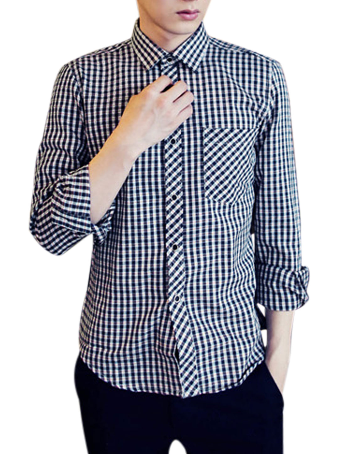 All Over Plaids Print One Patch Pocket Casual Shirt for Men Orange Navy Blue M