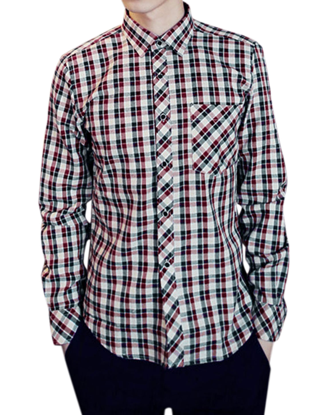 Men Fashion All Over Plaids Print One Patch Pocket NEW Shirt Red Khaki M