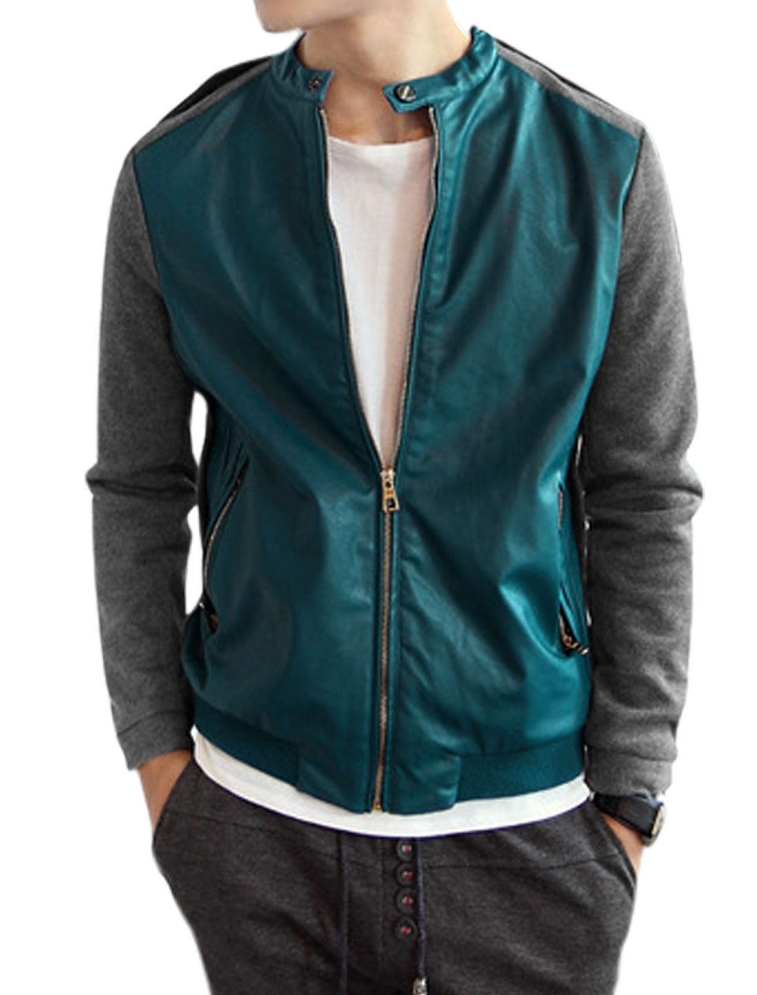 Men Imitation Leather Panel Contrast Color Jacket Turquoise Gray M