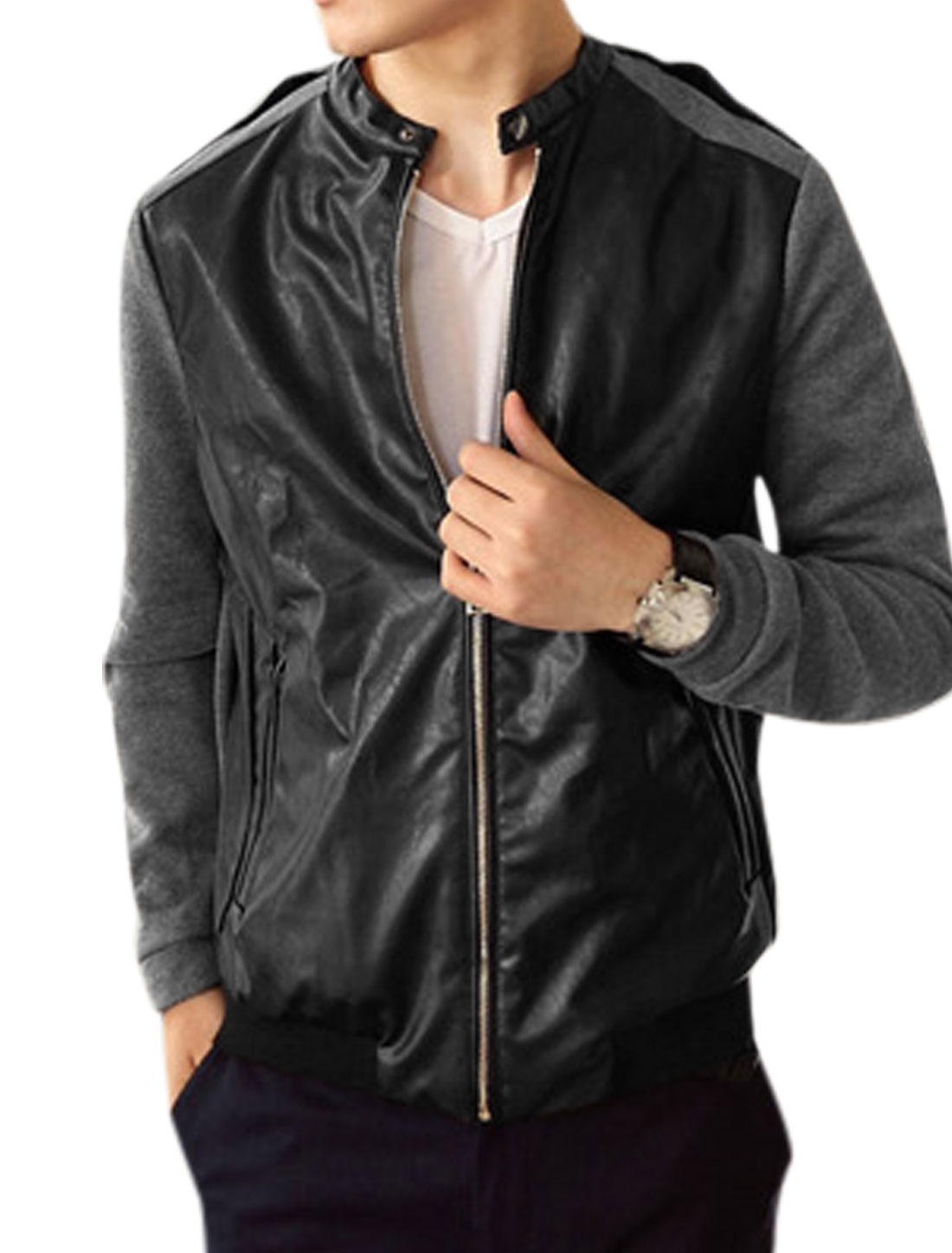 Men Stand Collar Zipper Closure Color Block Casual Jacket Black Gray M