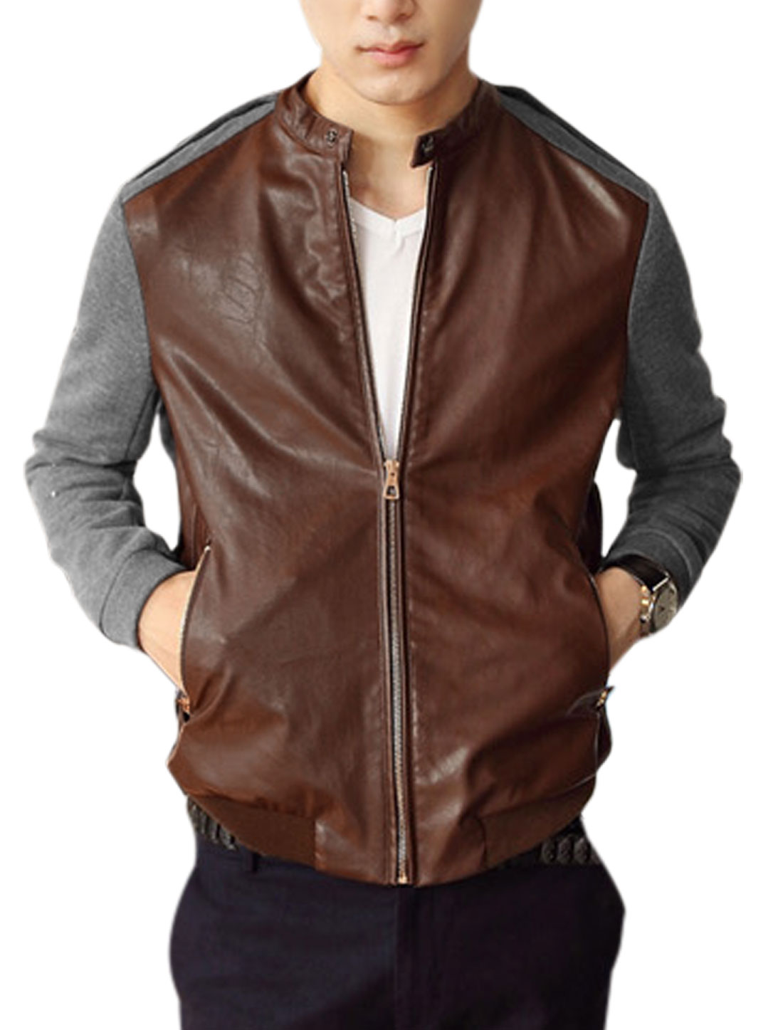 Men Fashion Style Contrast Color Imitation Leather Panel Jacket Brown Gray M