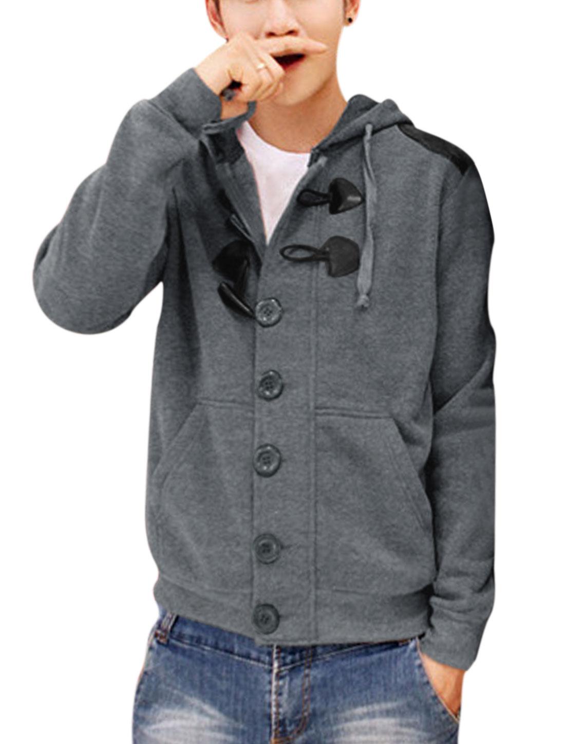 Men Single Breasted Zip Up Double Slant Pockets Ribbed Hem Hoodie Dark Gray M