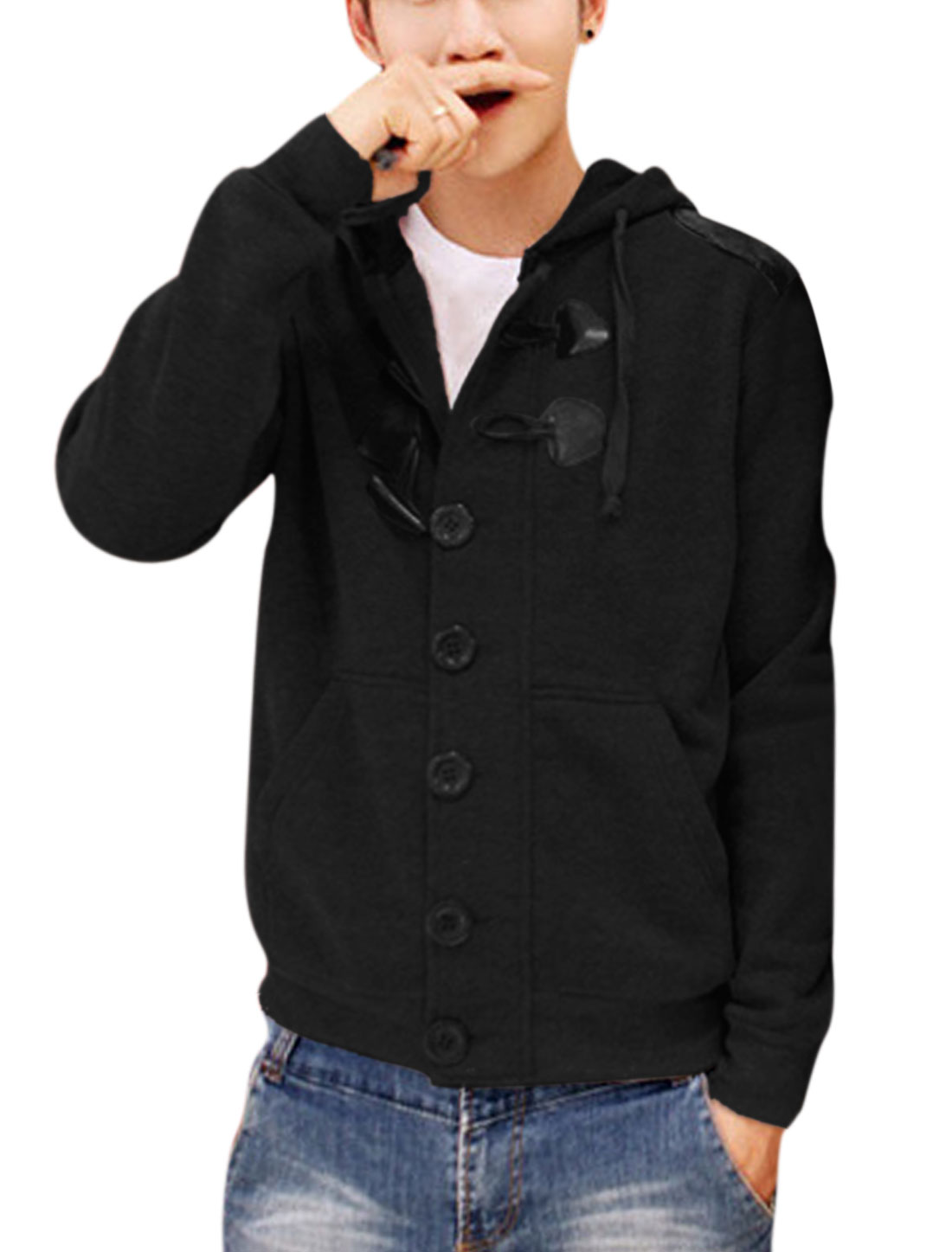 Men Drawcord Hood Button Closure Front Slant Pockets Leisure Hoodie Black M