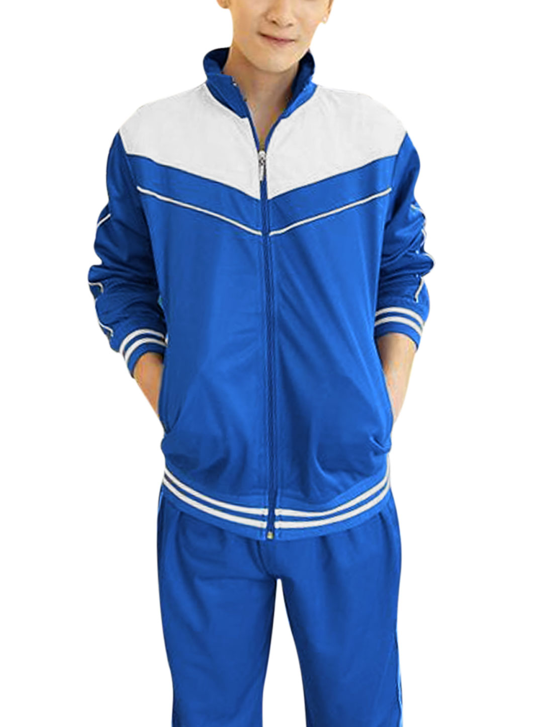 Men Contrast Color Jacket w Drawstring Elastic Waist Pants Royal Blue M