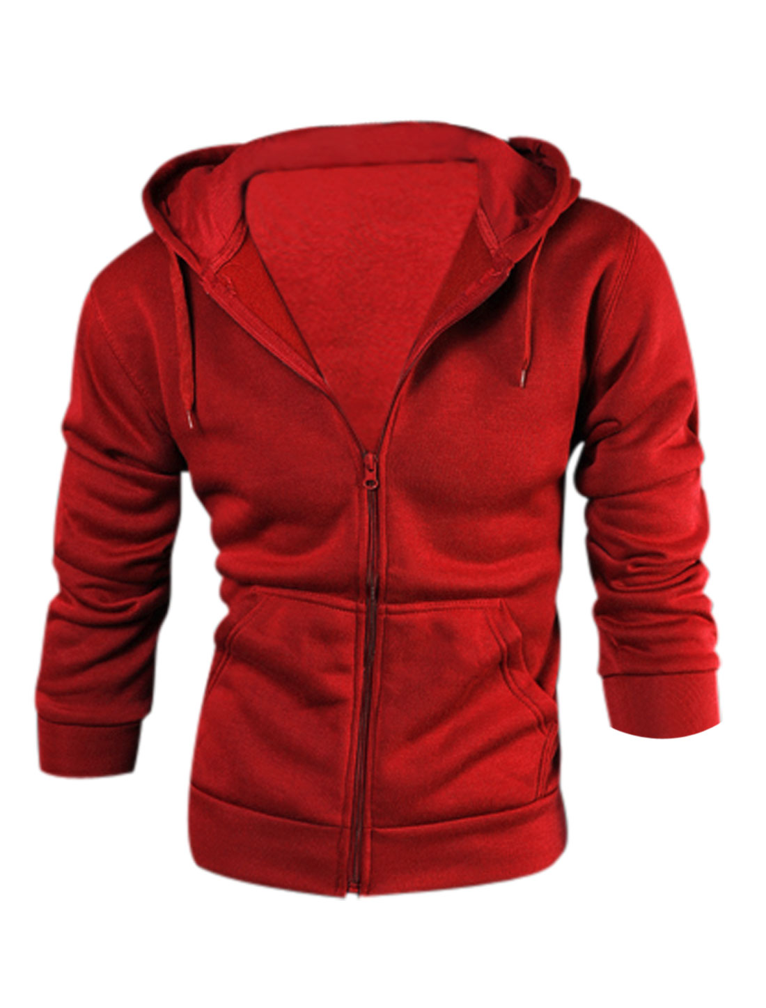 Men Drawstring Hood Zip Up Double Slant Pockets Casual Hoodie Red M