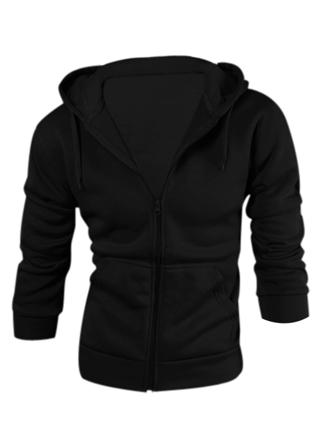 Men Drawcord Hood Zip Up Slant Pockets Casual Hoodie Black M