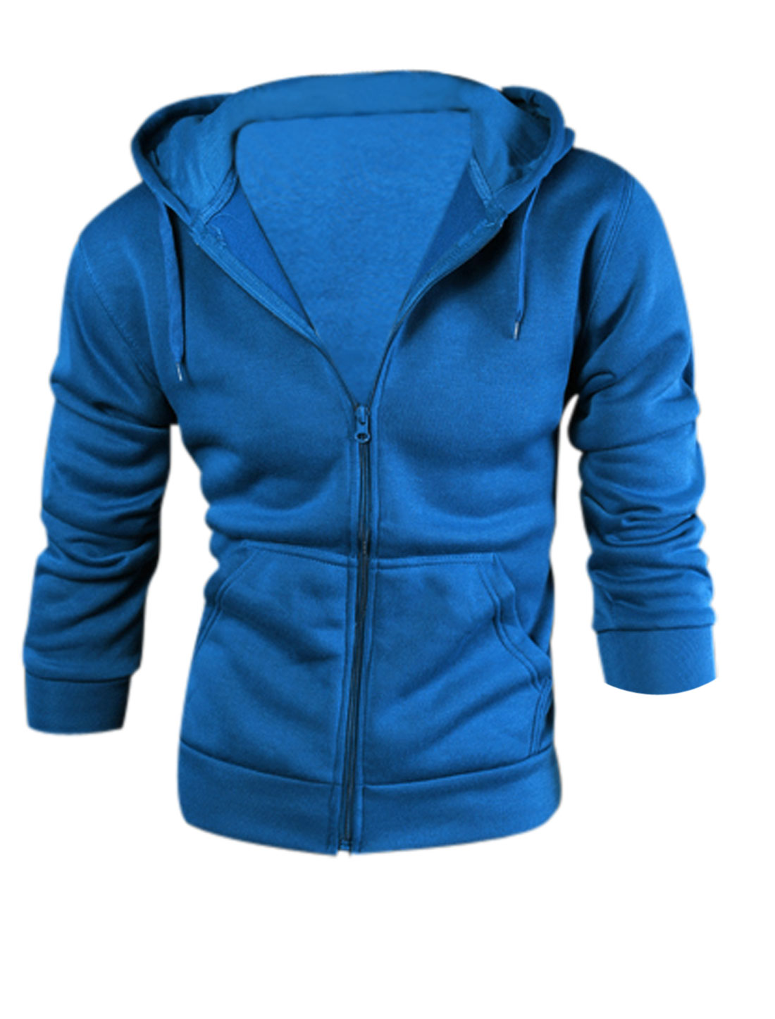 Men Fashion Style Zip Up Casual Hoodie Royal Blue M
