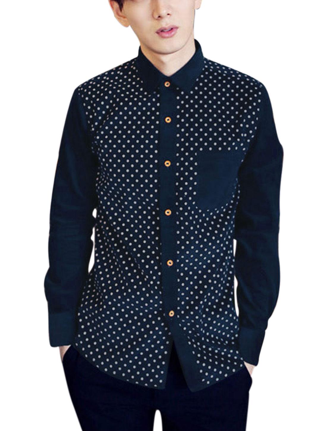 Men Dots Pattern Single Breasted Chest Pocket Round Hem Shirt Navy Blue M