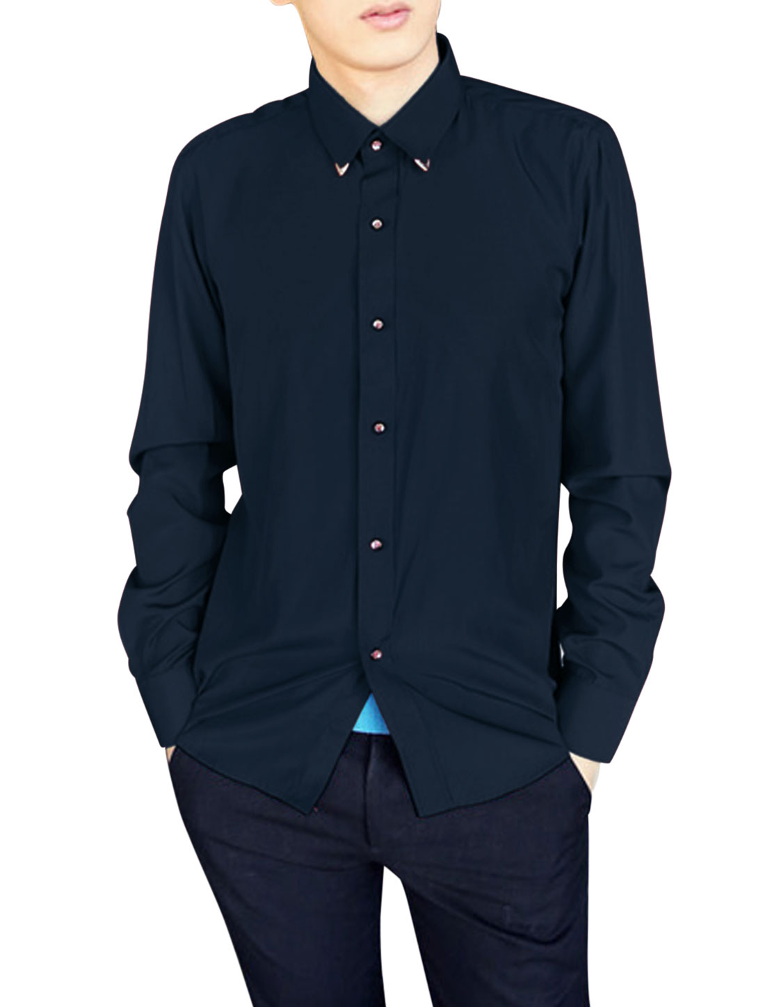 Men Point Collar Single Breasted Fashion Casual Shirt Navy Blue M