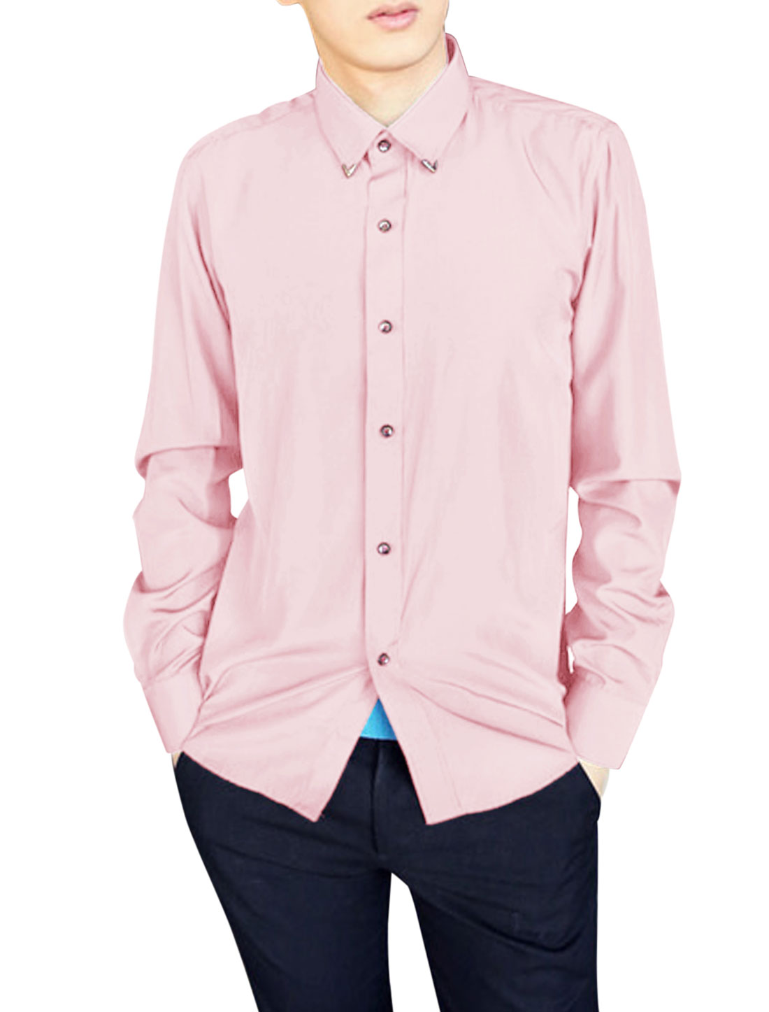 Men Single Breasted Fashionable Leisure Shirt Light Pink M