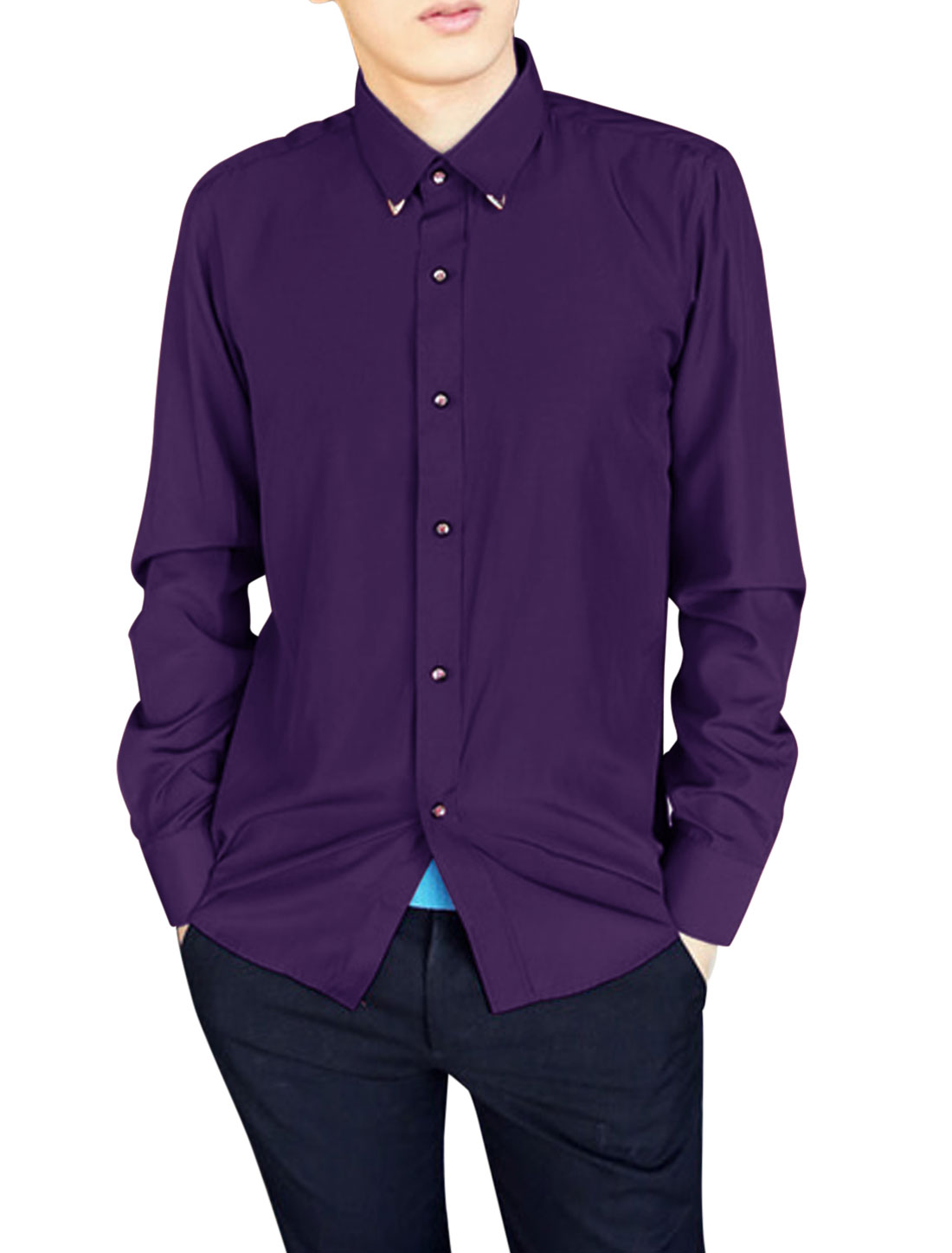 Slim Fit Casual Single Breasted Shirt for Men Purple M