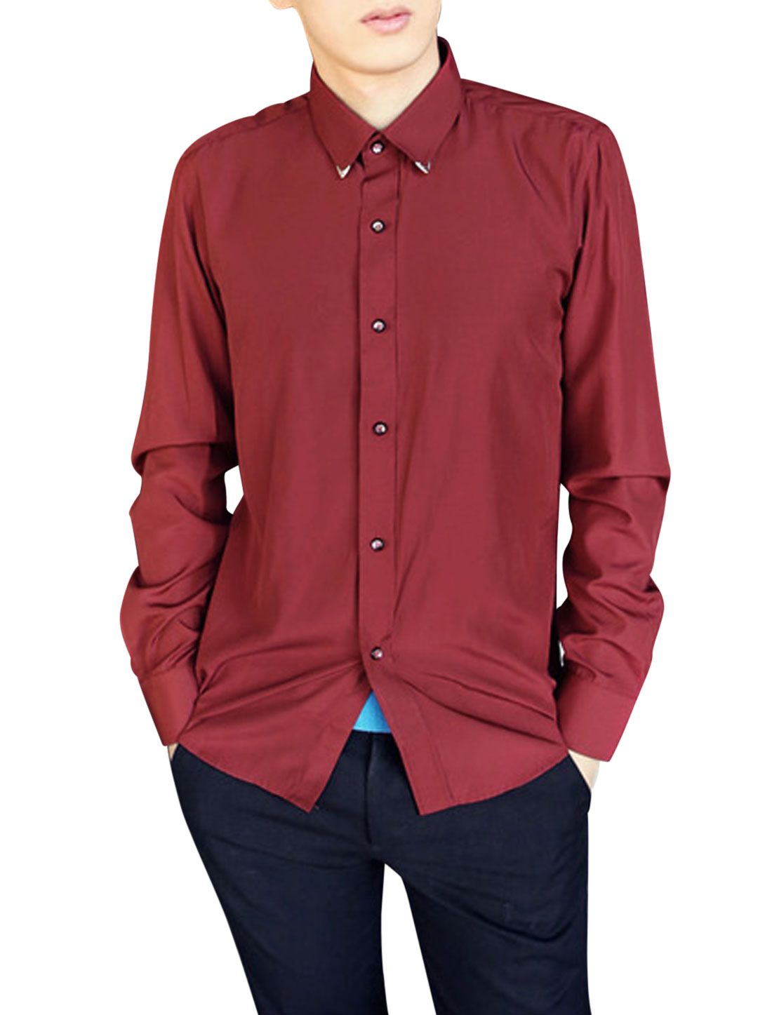 Cozy Fit Stylish Point Collar Single Breasted Shirt for Men Burgundy M