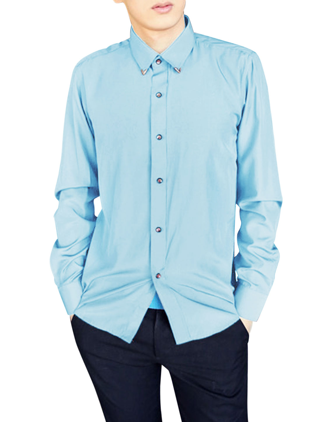 New Style Leisure Point Collar Long Sleeve Shirt for Men Baby Blue M