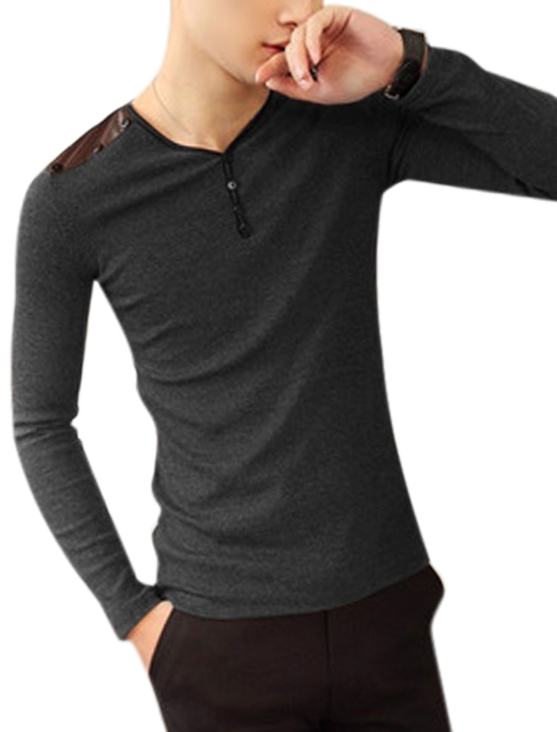 Men Long Sleeves PU Patched Design Pullover Y Neck Casual Knit Top Dark Gray S