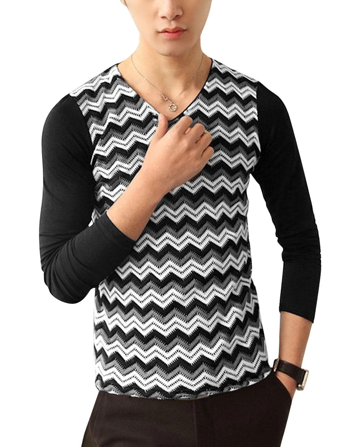 Men Spliced Design Zigzag Contrast Color Casual Shirt Black S
