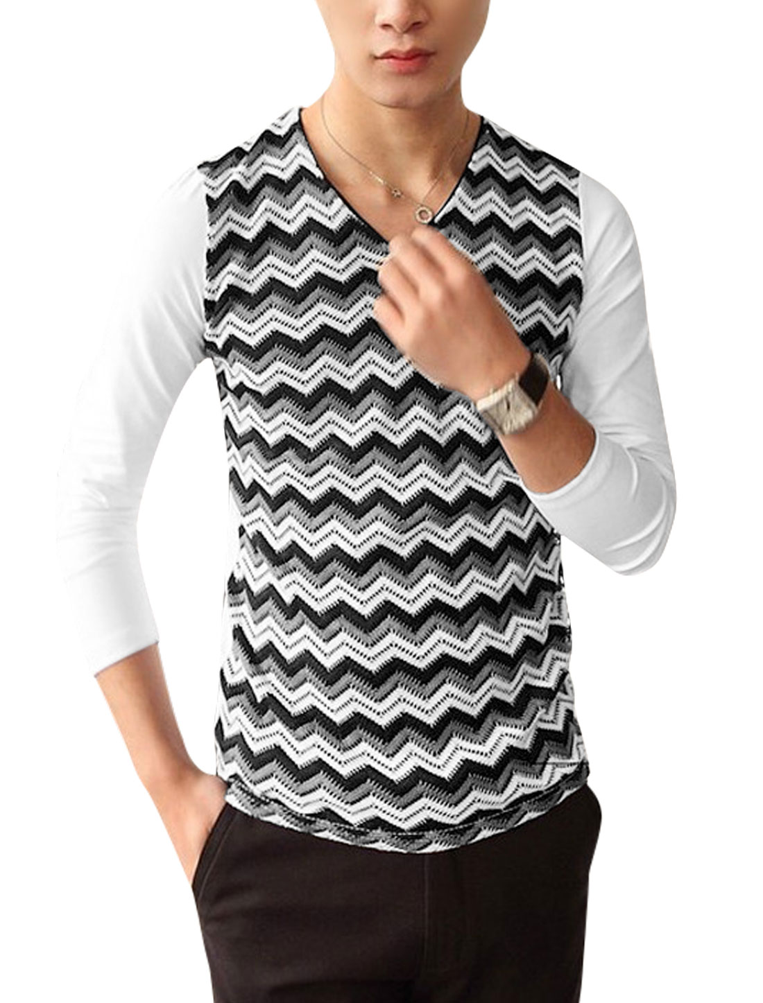 Men V Neck Long Sleeves Zigzag Contrast Color Casual Shirt White S