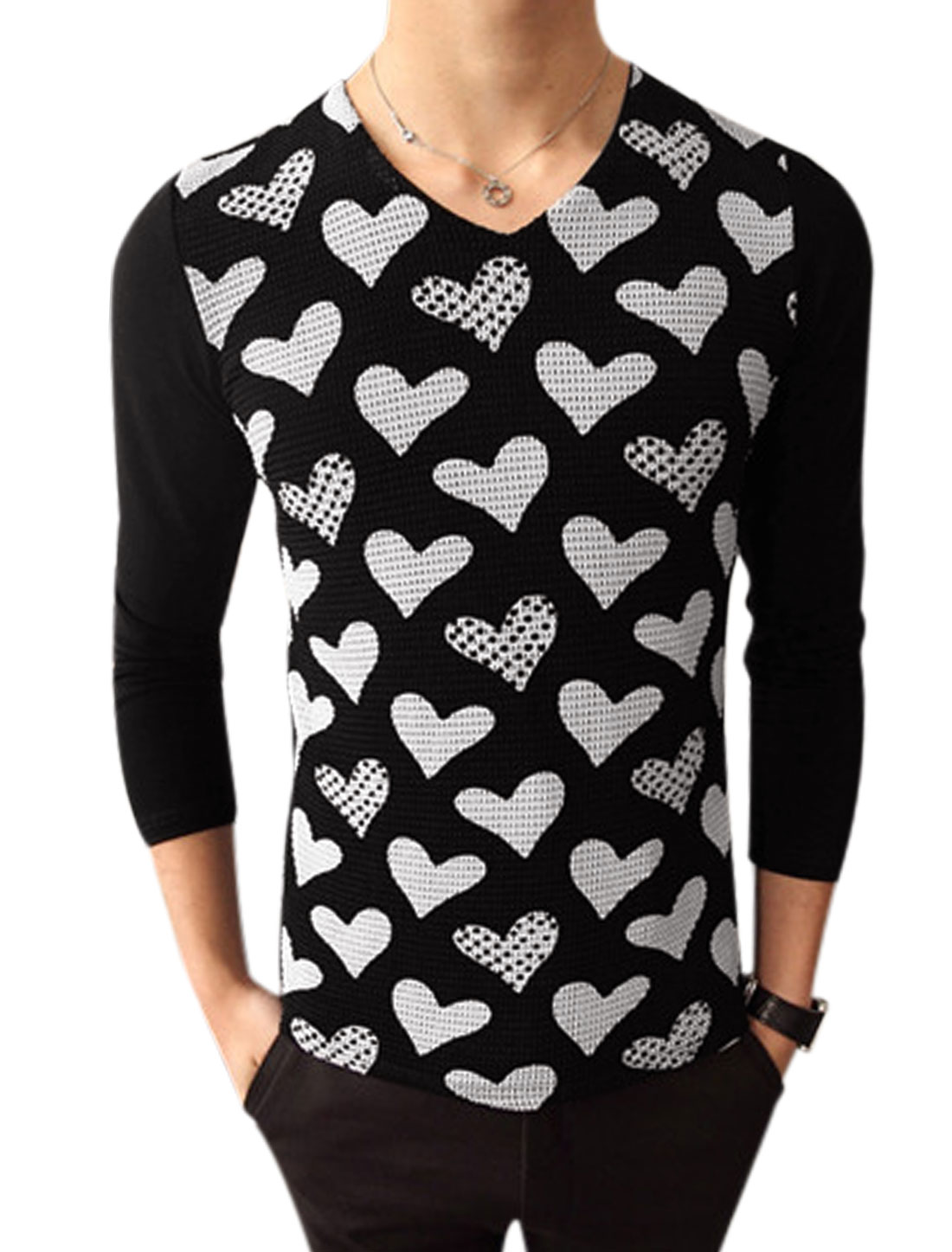 Hearts Pattern V Neck Long Sleeves Casual T-Shirt for Man Black S