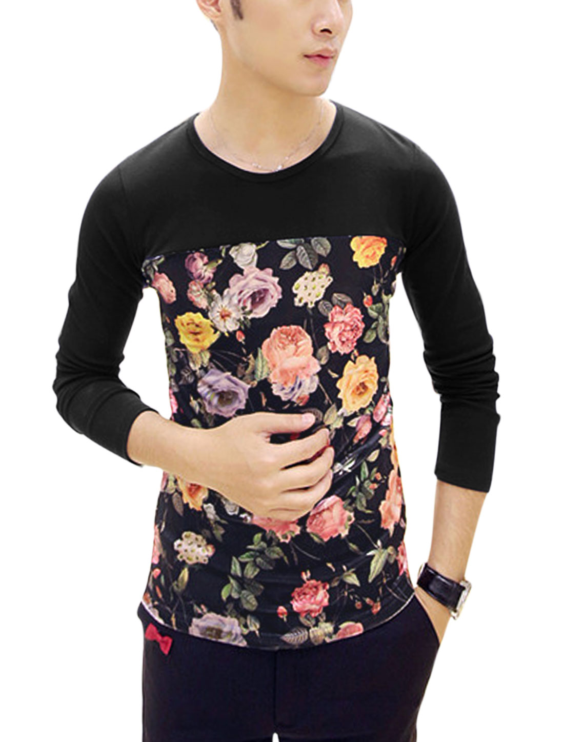 Spliced Design Floral Print Contrast Color Casual Shirt for Men Black S