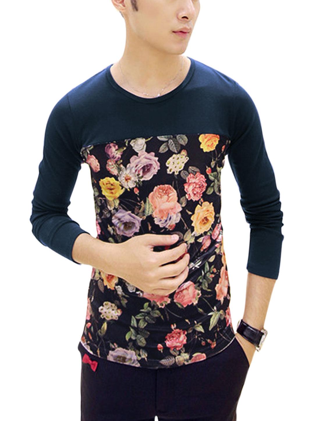 Spliced Design Floral Print Contrast Long Sleeves Soft Shirt for Men Navy Blue S