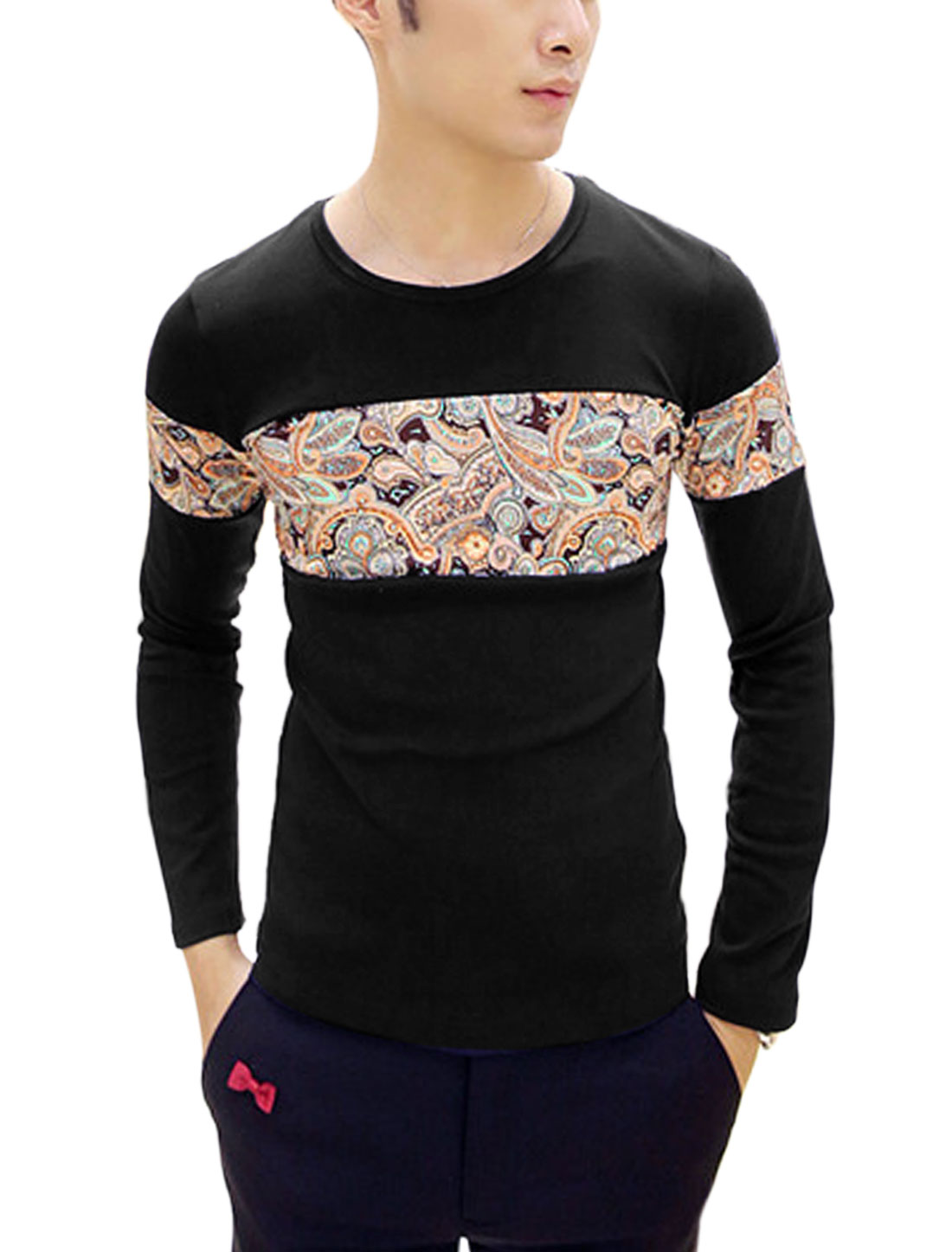 Men Contrast Paisleys Print Patched Design Casual Tee Shirt Black S