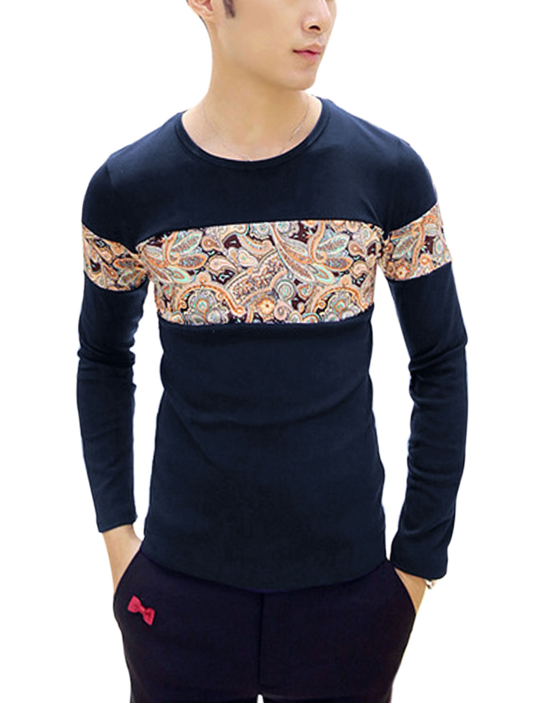 Men Contrast Paisleys Print Pullover Autumn Fit Tee Shirt Navy Blue S
