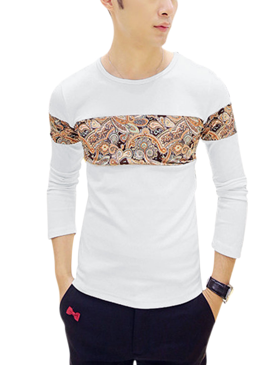 Men Contrast Paisleys Print Panel Casual T-Shirt White S