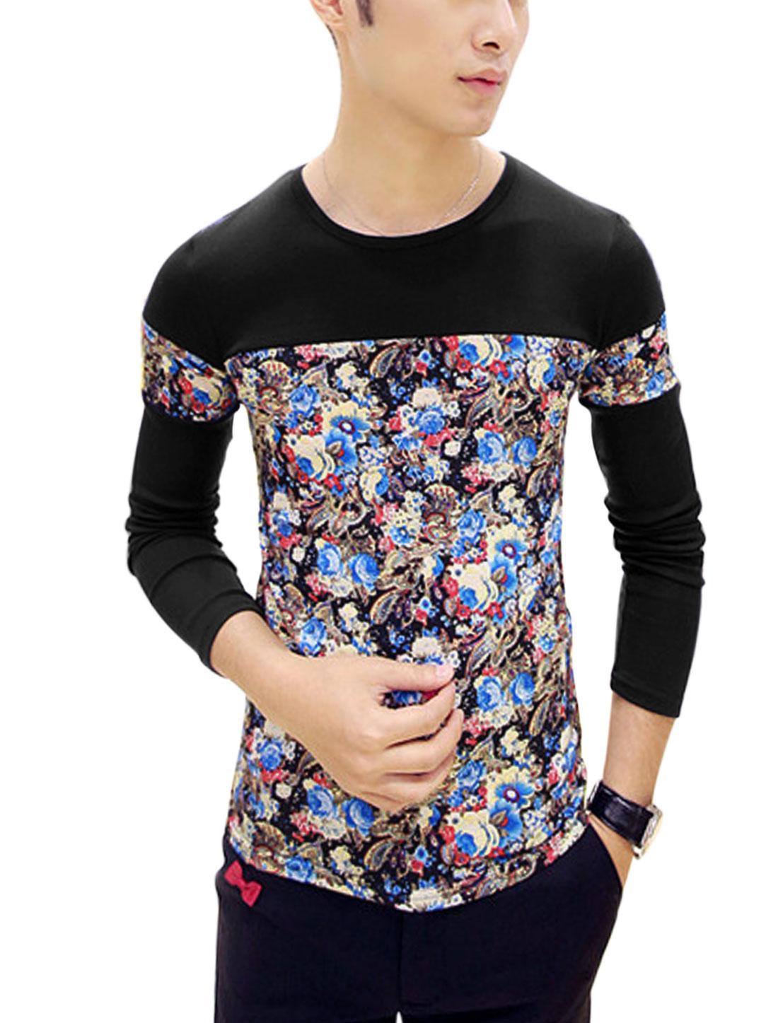 Men Floral Paisleys Pattern Contrast Color Casual Shirt Black S