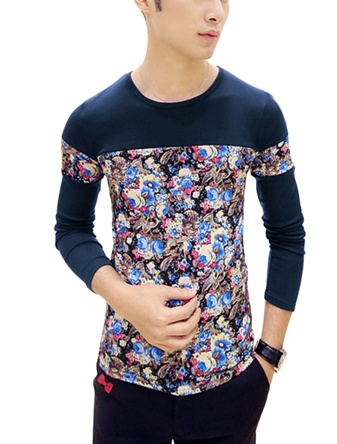 Men Floral Paisleys Pattern Long Sleeves Spliced Design Shirt Navy Blue S