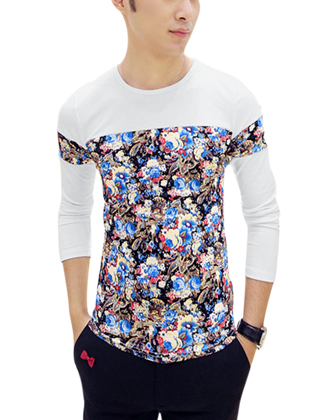 Men Floral Paisleys Pattern Contrast Long Sleeves Shirt White S