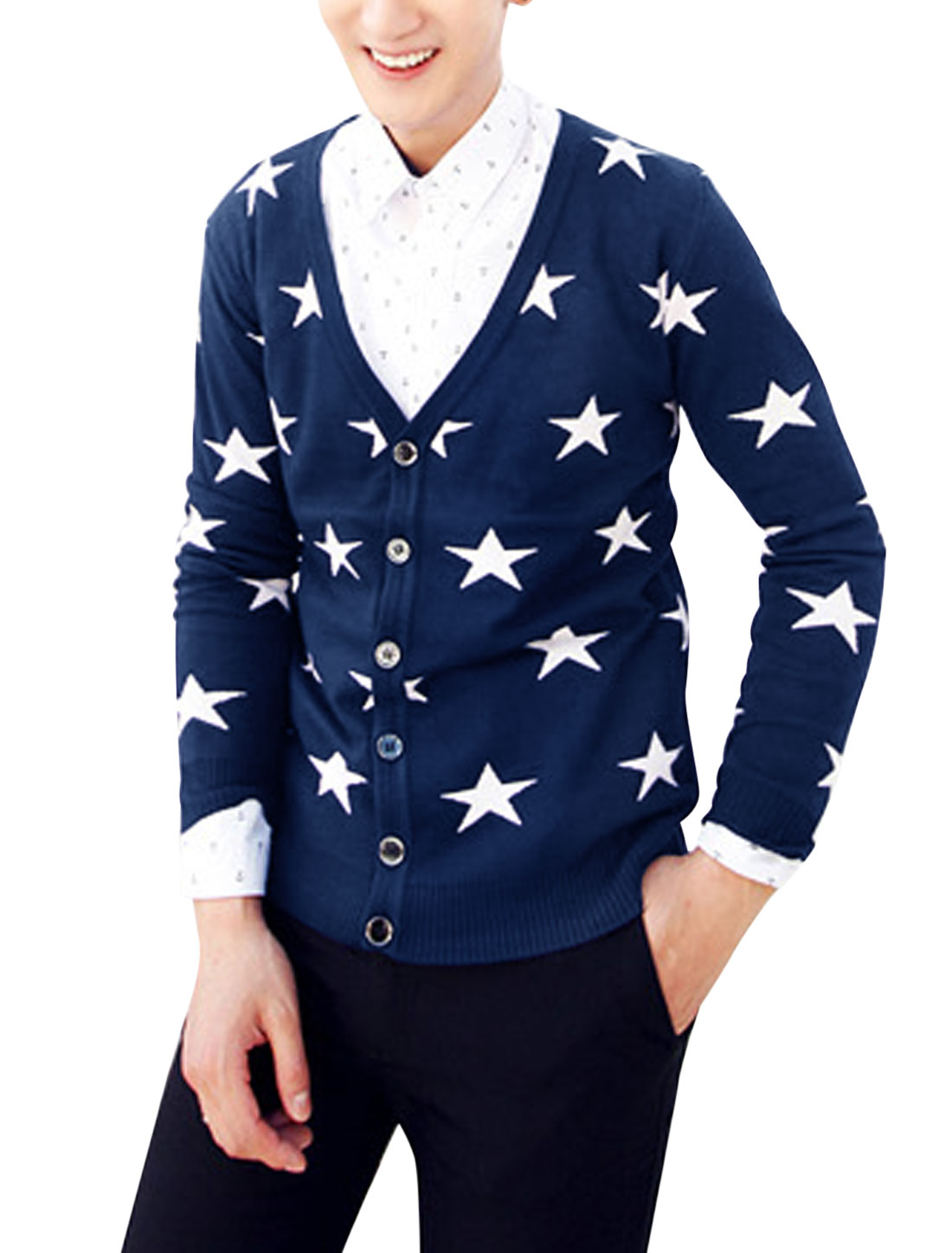 Men Stars Pattern Ribbed Trim Long Sleeve Leisure Cardigan Navy Blue S