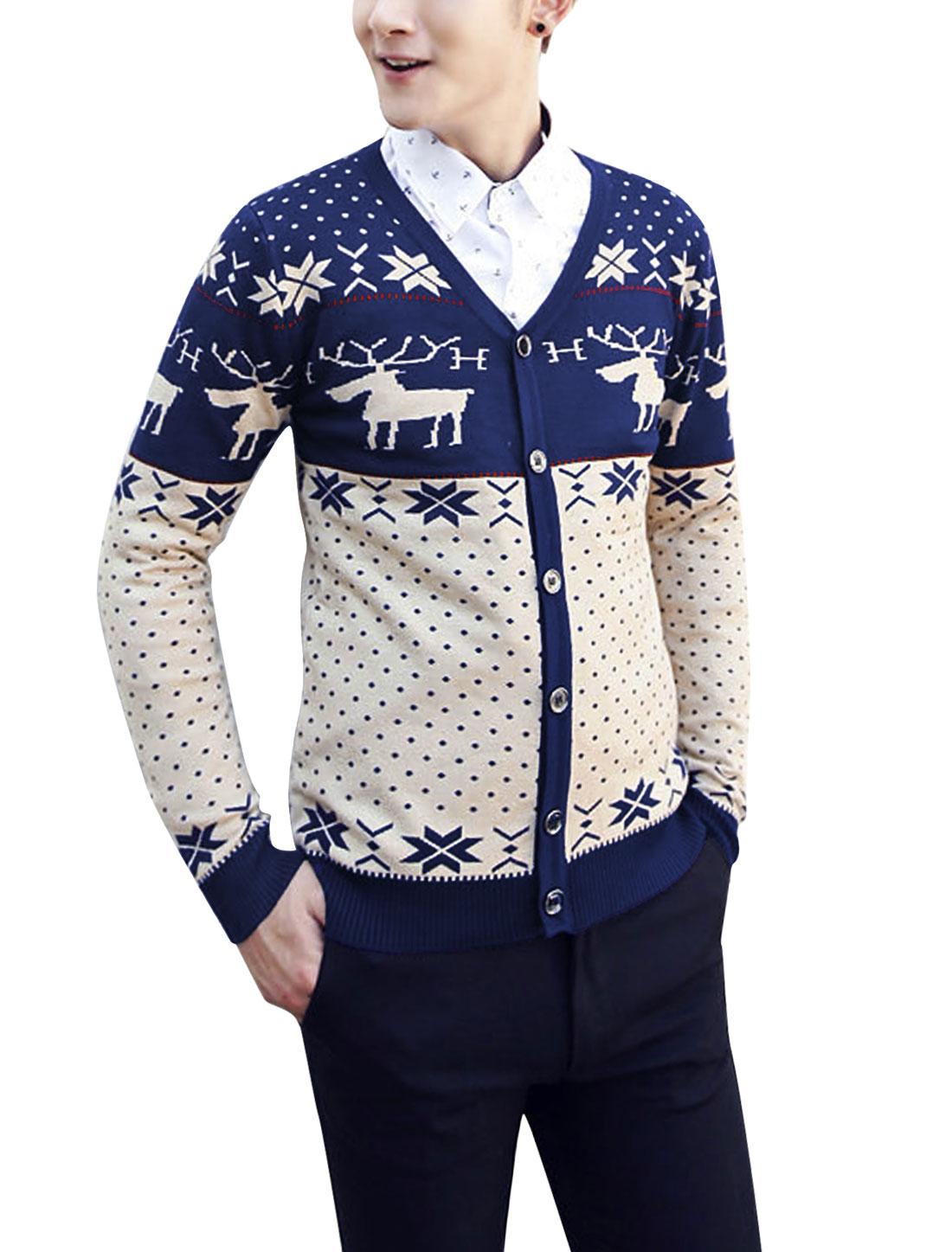 Men Geometric Dots Deer Pattern Single Breasted Casual Knit Cardigan Navy Blue Beige S