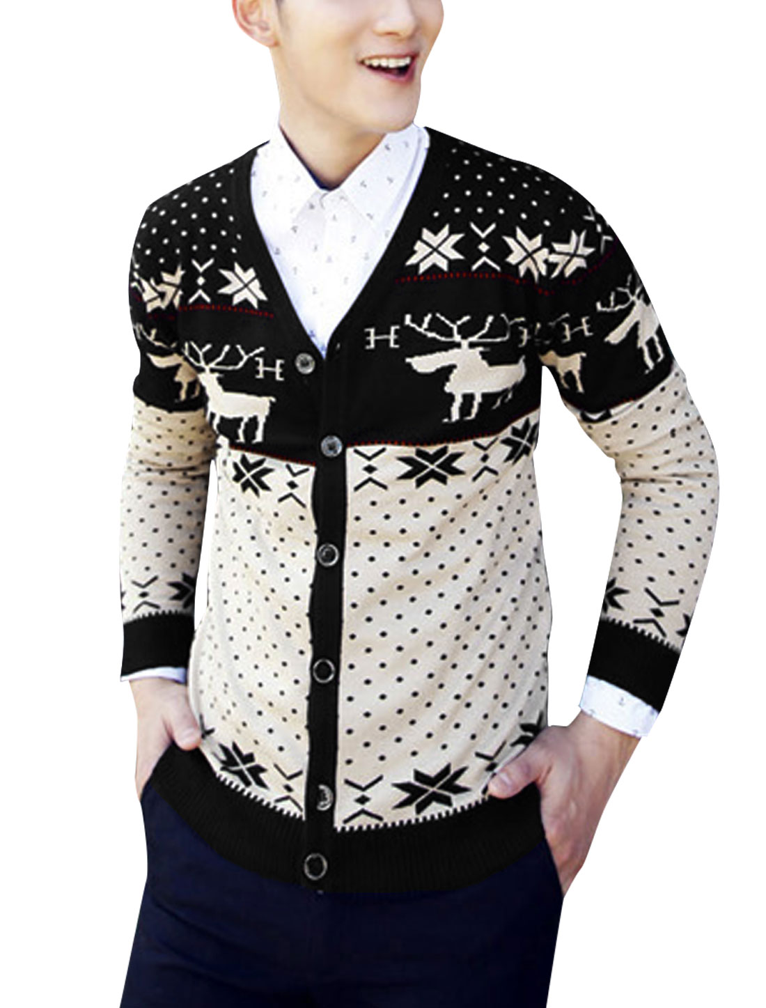 Cozy Fit Fashion Geometric Dots Deer Pattern Knit Cardigan for Men Black Beige S