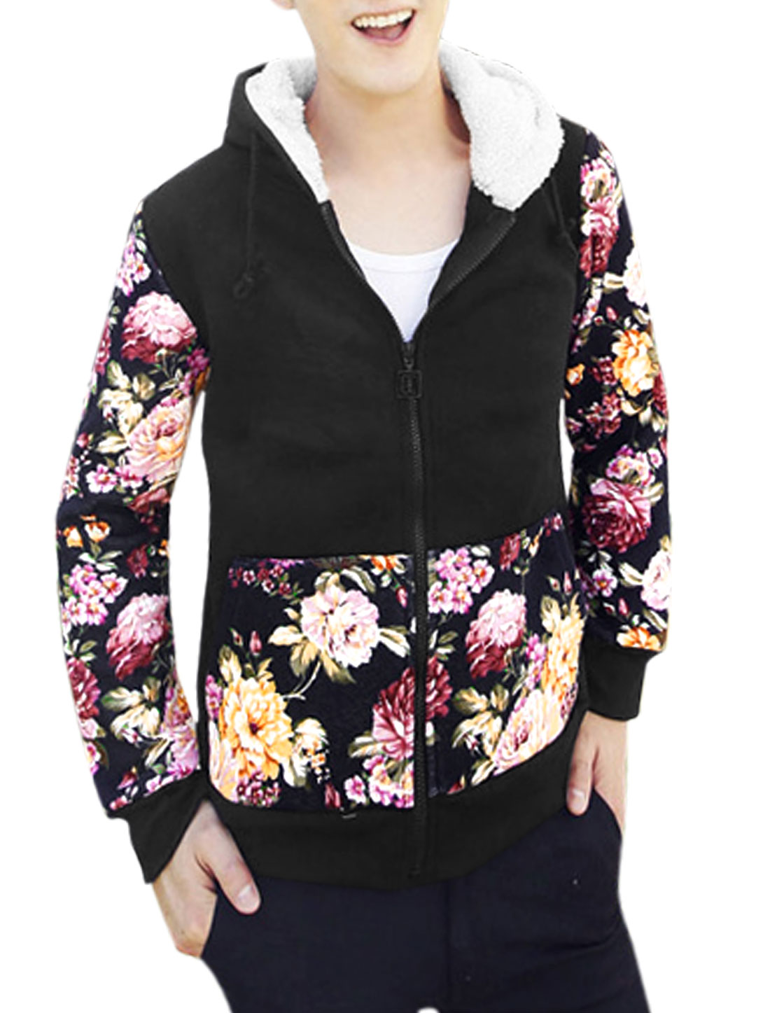 Men Drawstring Hood Floral Pattern Zip Up Slant Pockets Casual Hoodie Black M