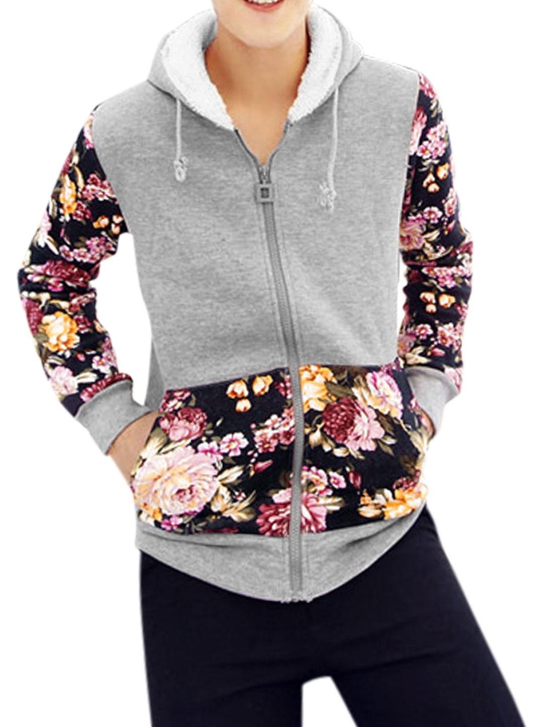 Men Floral Pattern Long Sleeve Zipper Closure Leisure Hoodie Light Gray M