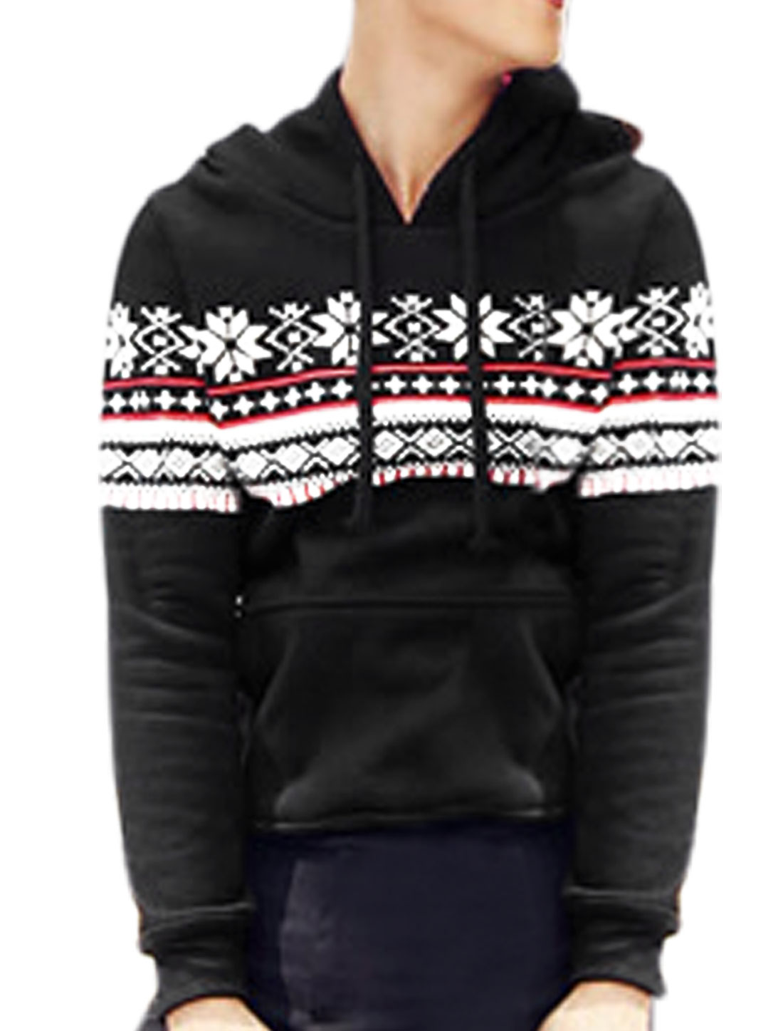Men Pullover Geometric Prints Kangaroo Pocket Casual Hoodie Black M