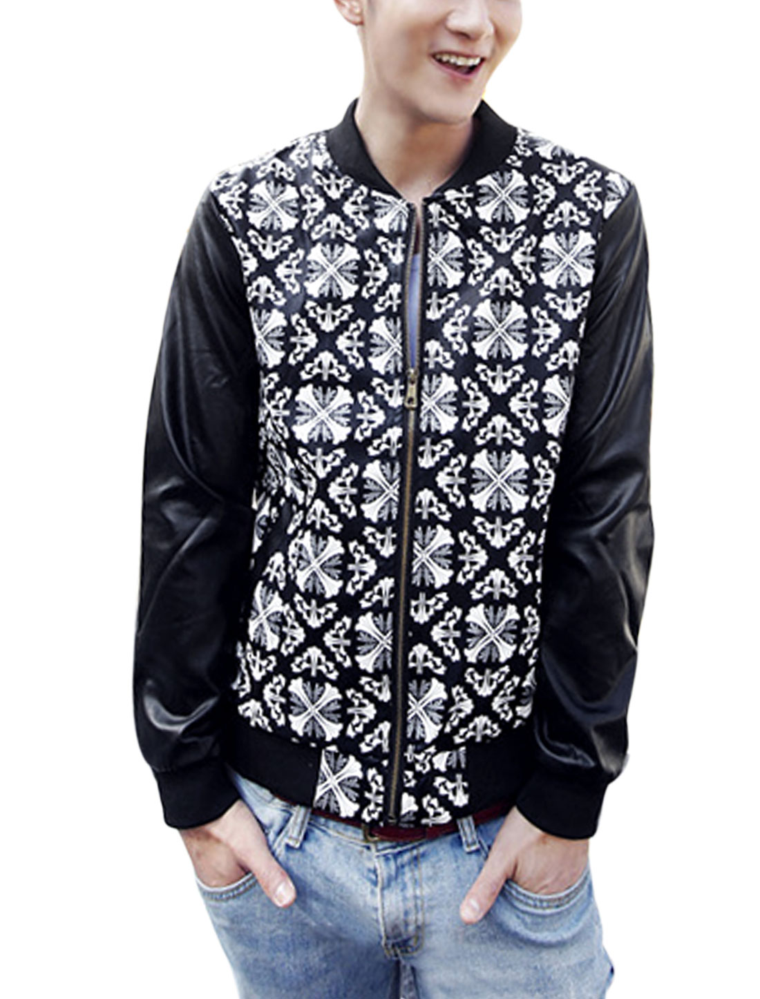 Men Cross Pattern Double Slant Pockets Front Casual Imitation Leather Jacket Black M