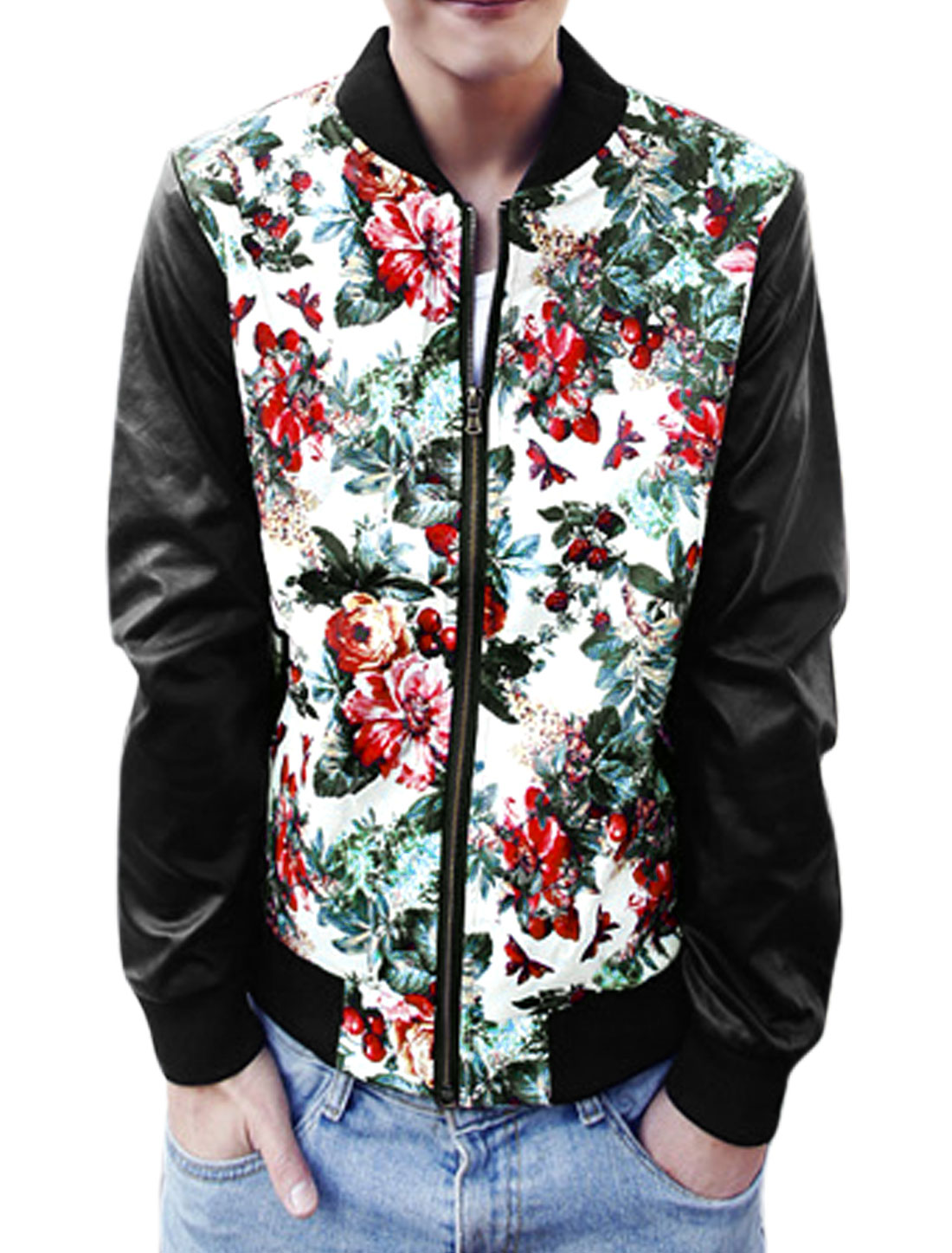 Men Floral Prints Zip Up Slant Pockets Imitation Leather Jacket Multicolor M