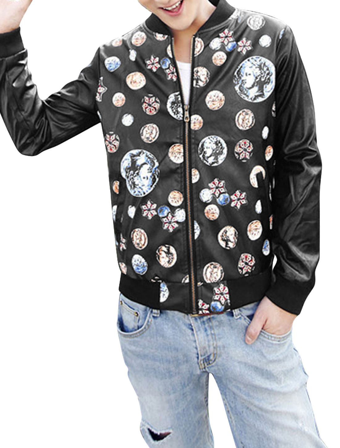 Men Portrait Prints Zip Up Slant Pockets Casual Imitation Leather Jacket Black M