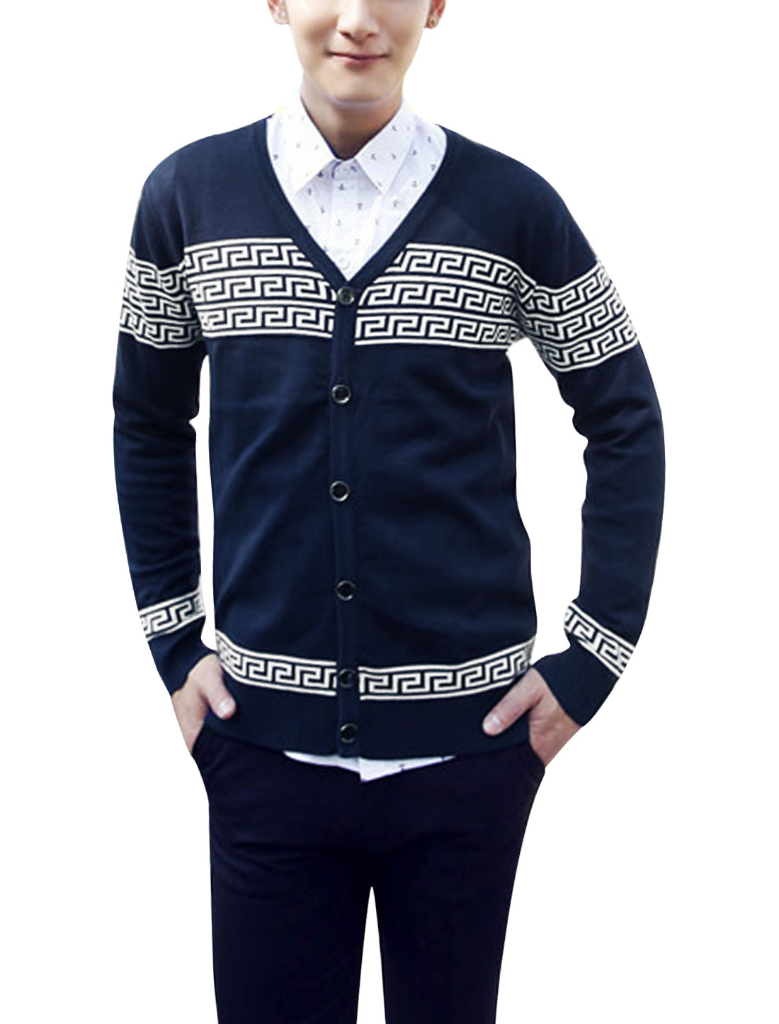 Men Single Breasted Geometric Pattern Casual Knit Cardigan Navy Blue S