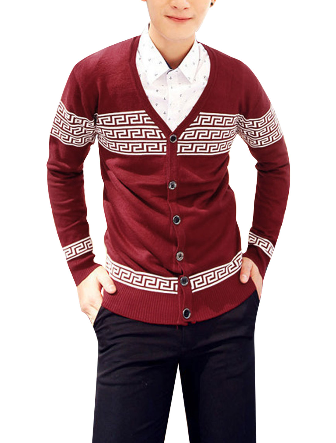 Men V Neck Geometric Pattern Ribbed Cuff w Hem Cozy Fit Knit Cardigan Burgundy S