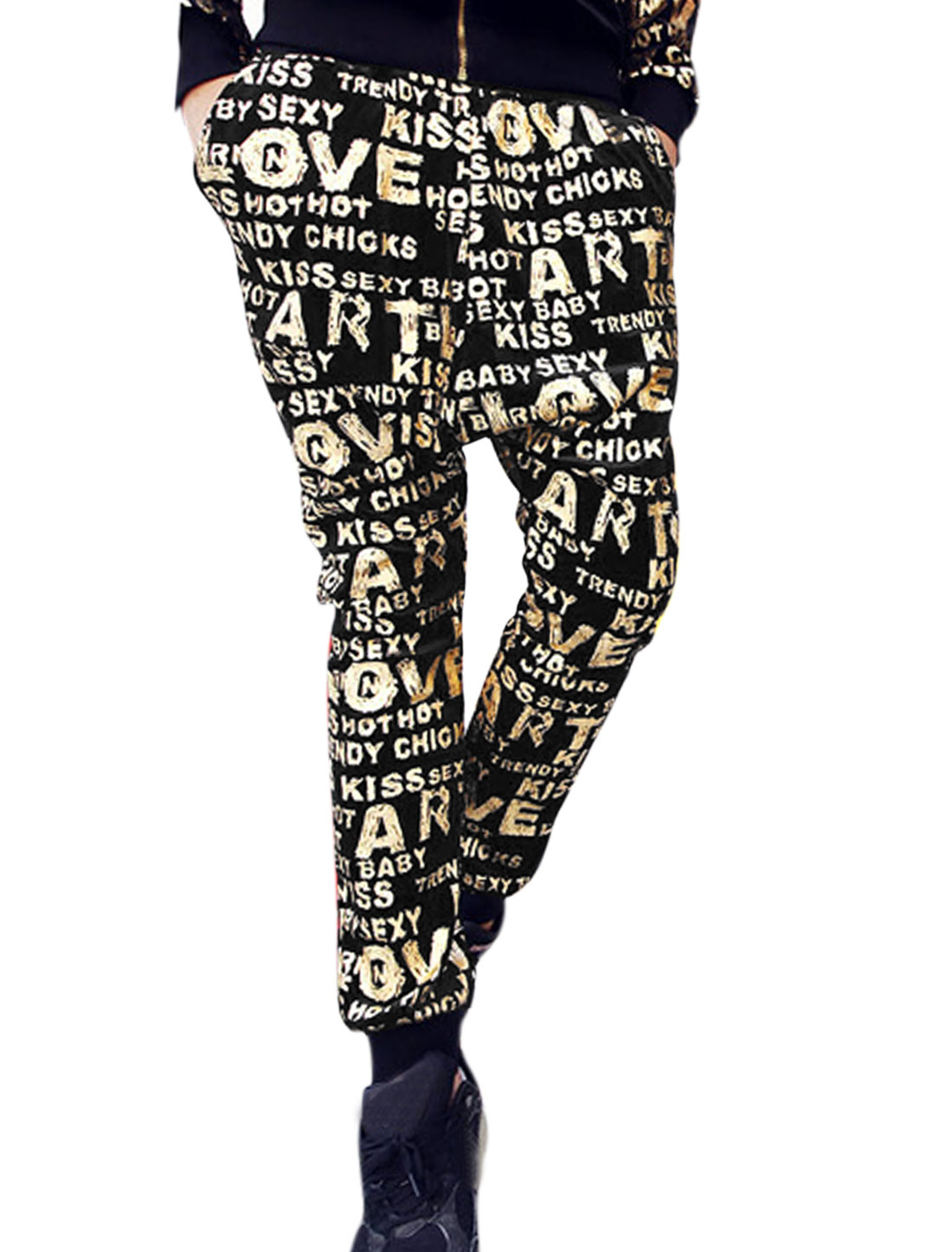 Men Letters Prints Loose Crotch Slant Pockets Harem Pants Black Gold W30