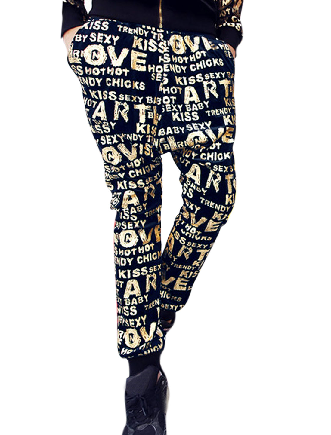 Men Letters Prints Stretchy Waist Tapered Harem Trousers Navy Blue Gold W30