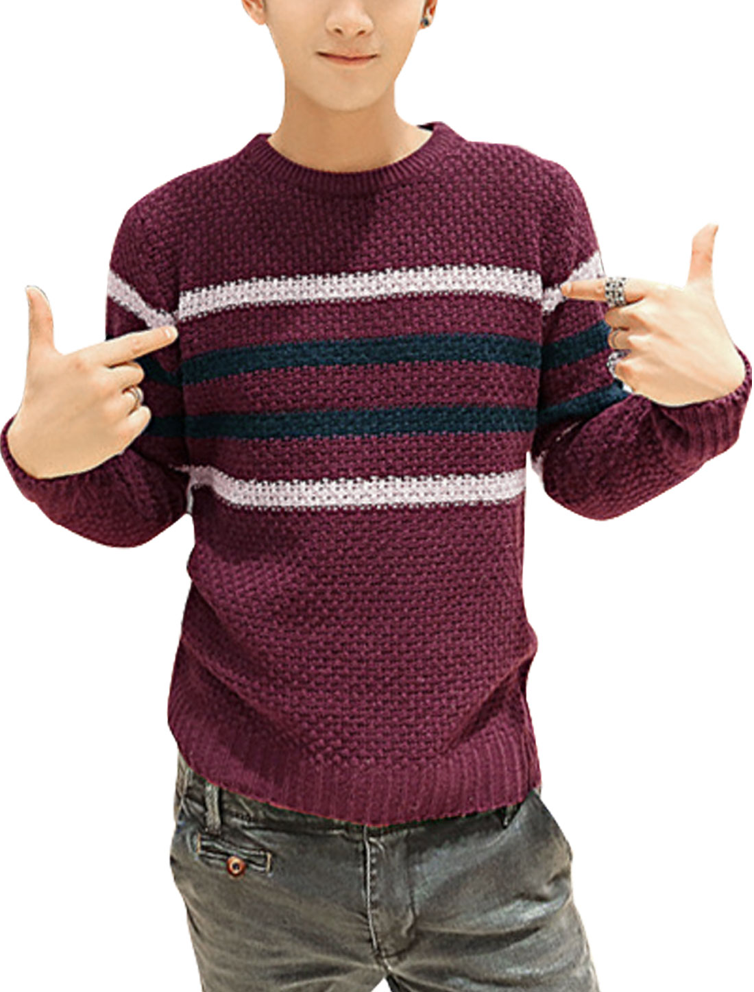 Men Stripes Crew Neck Long Sleeve Ribbed Hem Casual Sweater Burgundy S