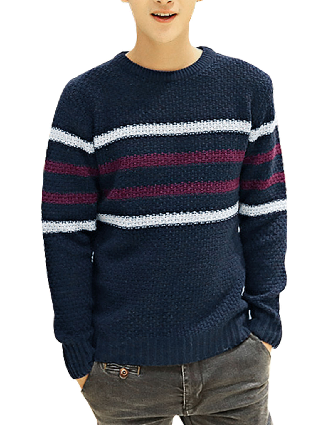 Men Pullover Long Sleeve Bar Striped Leisure Sweater Navy Blue S