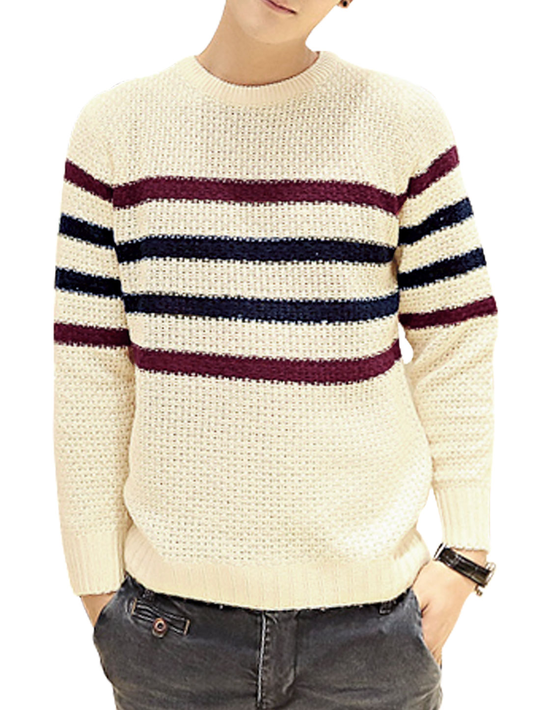 Men Horizontal Stripes Slipover Long Sleeve Leisure Sweater Beige S