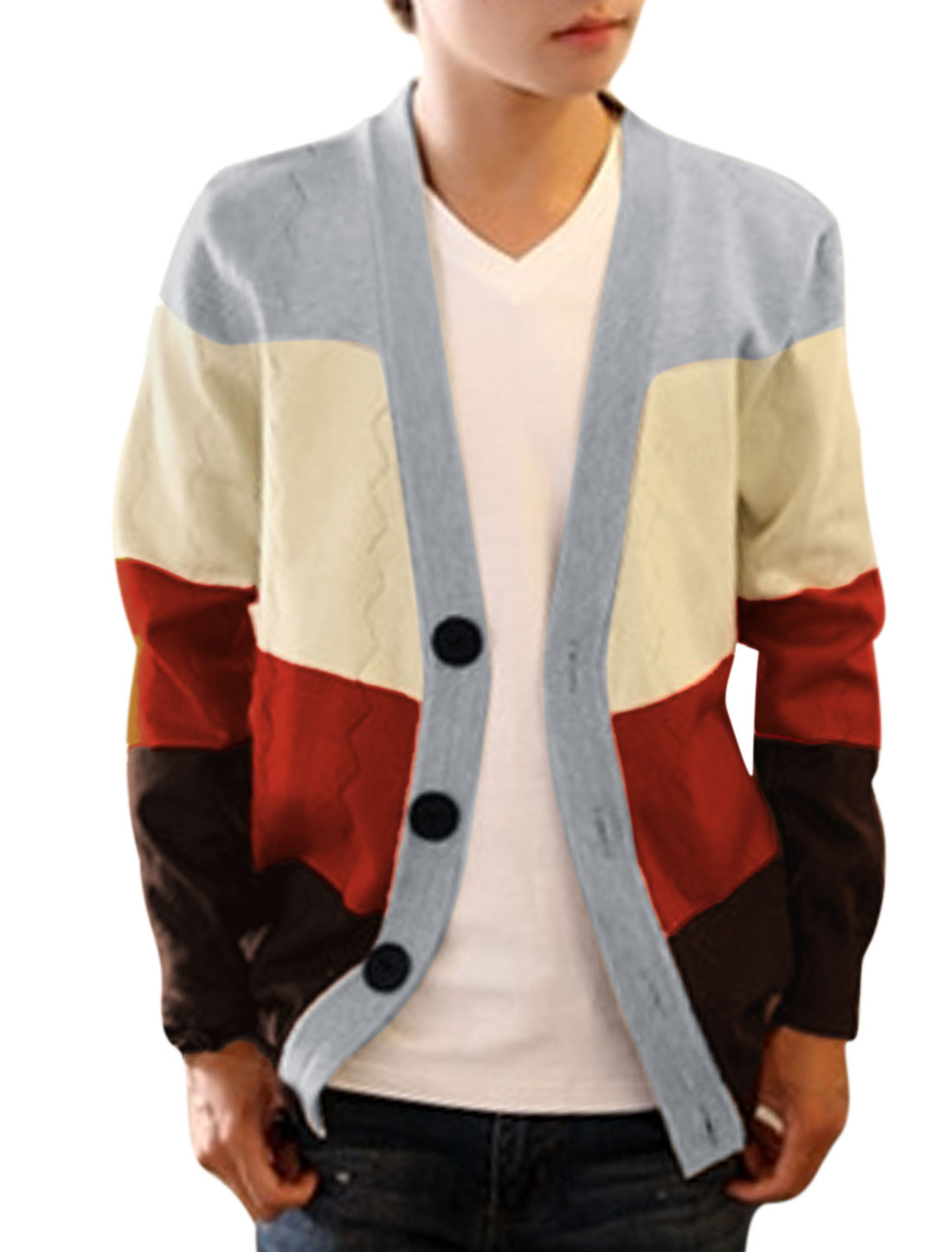 Men Single Breasted Zig-Zag Design Color Block Knit Cardigan Coral Beige S