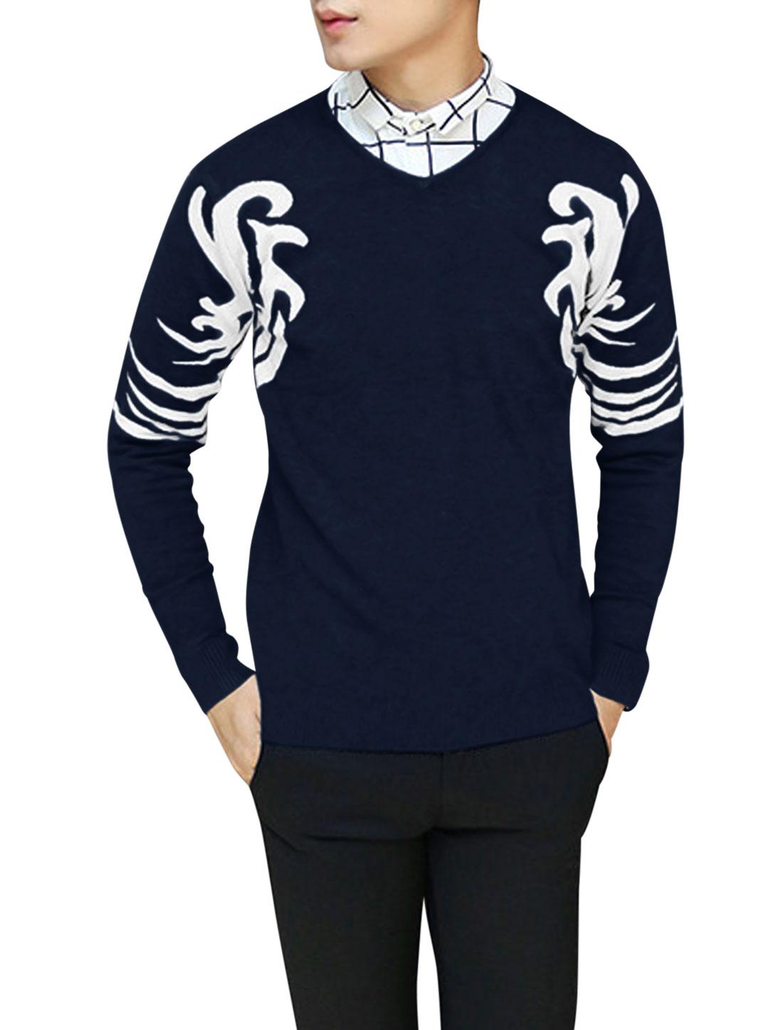 Men V Neck Long Sleeve Novelty Pattern Ribbed Hem Knit Shirt Navy Blue S